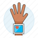 blood, examination, health, heart, monitor, monitoring, pressure, rate, tester, wrist icon