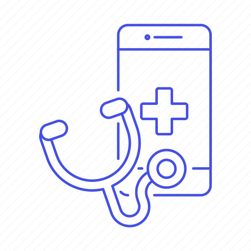 app, appointment, doctor, health, information, medical, online, phone, software, stethoscope icon