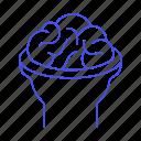 back, brain, cerebral, cerebrum, cortex, head, health, human, nervous, open, system icon