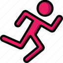 fitness, health, man, running, sprint, track icon