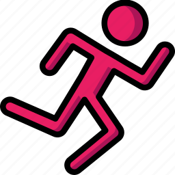 fitness, health, man, running, sprint, track icon
