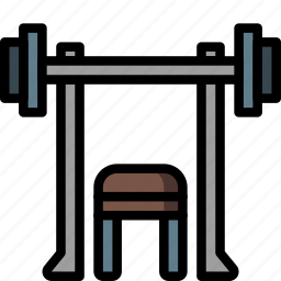 bench, equipment, fitness, gym, health, press, weight icon