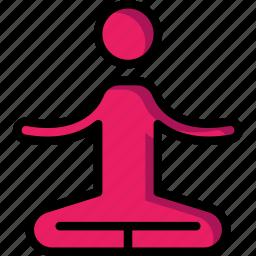 class, fitness, health, man, sit, yoga icon