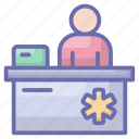 counter, front desk, hospital reception, information counter, pharmacy counter icon