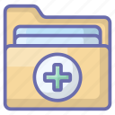 hospital record, medical archive, medical docs, medical folder, medical record, patient history icon