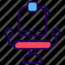 chair, furniture, revolving chair, salon chair, sitting icon