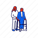 elderly, nurse, walker icon