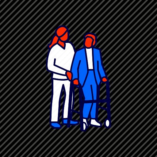 elderly, nurse, walker icon
