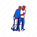 disabled, injury, walker icon
