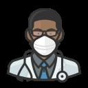 black, coronavirus, doctor, male, n-95 mask icon