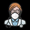 coronavirus, doctor, female, n-95 mask, white icon