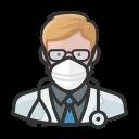 coronavirus, doctor, male, n-95 mask, white icon