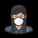 asian, coronavirus, ems, female, n-95 mask icon