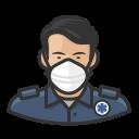 asian, coronavirus, ems, male, n-95 mask icon