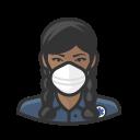 black, coronavirus, ems, female, n-95 mask icon