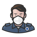 coronavirus, ems, male, n-95 mask, white icon