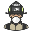 asian, coronavirus, female, firefighter, n-95 mask icon