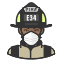 black, coronavirus, female, firefighter, n-95 mask icon