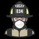 coronavirus, female, firefighter, n-95 mask, white
