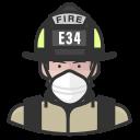 coronavirus, firefighter, male, n-95 mask, white