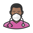 black, coronavirus, male, n-95 mask, nurse icon