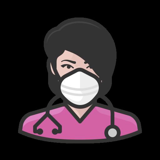 Coronavirus, female, n-95 mask, nurse, white icon - Free download