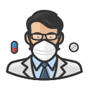 asian, coronavirus, male, n-95 mask, pharmacist icon