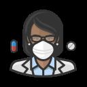black, coronavirus, female, n-95 mask, pharmacist icon