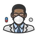 black, coronavirus, male, n-95 mask, pharmacist icon