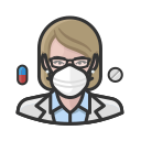 coronavirus, female, n-95 mask, pharmacist, white icon