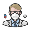 coronavirus, male, n-95 mask, pharmacist, white icon