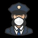 asian, coronavirus, female, n-95 mask, police icon