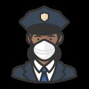 black, coronavirus, female, n-95 mask, police icon
