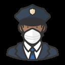 black, coronavirus, male, n-95 mask, police icon