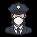 coronavirus, female, n-95 mask, police, white icon