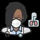 african, coronavirus, female, n-95 mask, pulmonologist icon