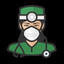 asian, coronavirus, female, n-95 mask, surgeon