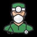 asian, coronavirus, male, n-95 mask, surgeon icon