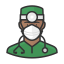 black, coronavirus, male, n-95 mask, surgeon icon