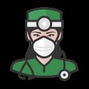 coronavirus, female, n-95 mask, surgeon, white icon