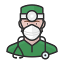 coronavirus, male, n-95 mask, surgeon, white
