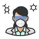 asian, coronavirus, female, n-95 mask, virologist icon