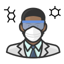 black, coronavirus, male, n-95 mask, virologist icon