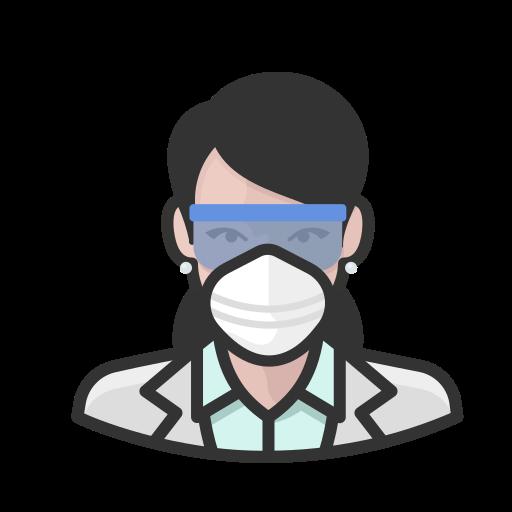 Coronavirus, female, n-95 mask, virologist, white icon - Free download