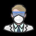 coronavirus, male, n-95 mask, virologist, white
