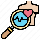 checkup, examination, health, heart, pulse icon