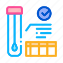 affirmative, checkup, health, material, results, test, tube icon