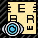eye, optician, optometrist, sight, test icon