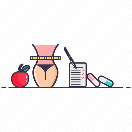 fruit, gain, loss, pills, slimmimg, tablets, weight icon