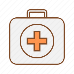 briefcase, first aid, first aid box, first aid kit, red cross icon